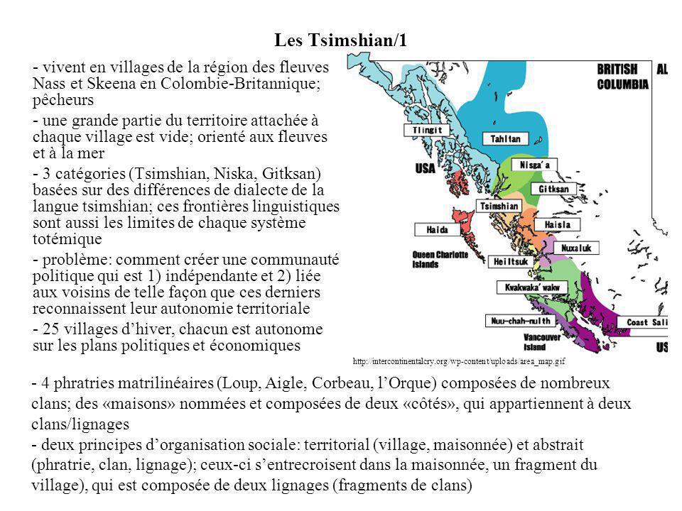 Les Tsimshian/1 - vivent en villages de la région des fleuves Nass et Skeena en Colombie-Britannique; pêcheurs.