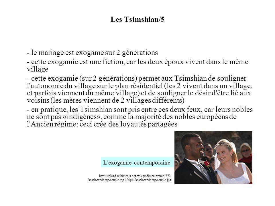 - le mariage est exogame sur 2 générations