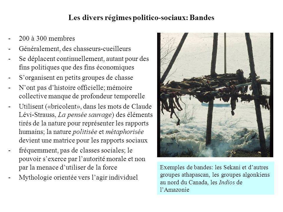 Les divers régimes politico-sociaux: Bandes