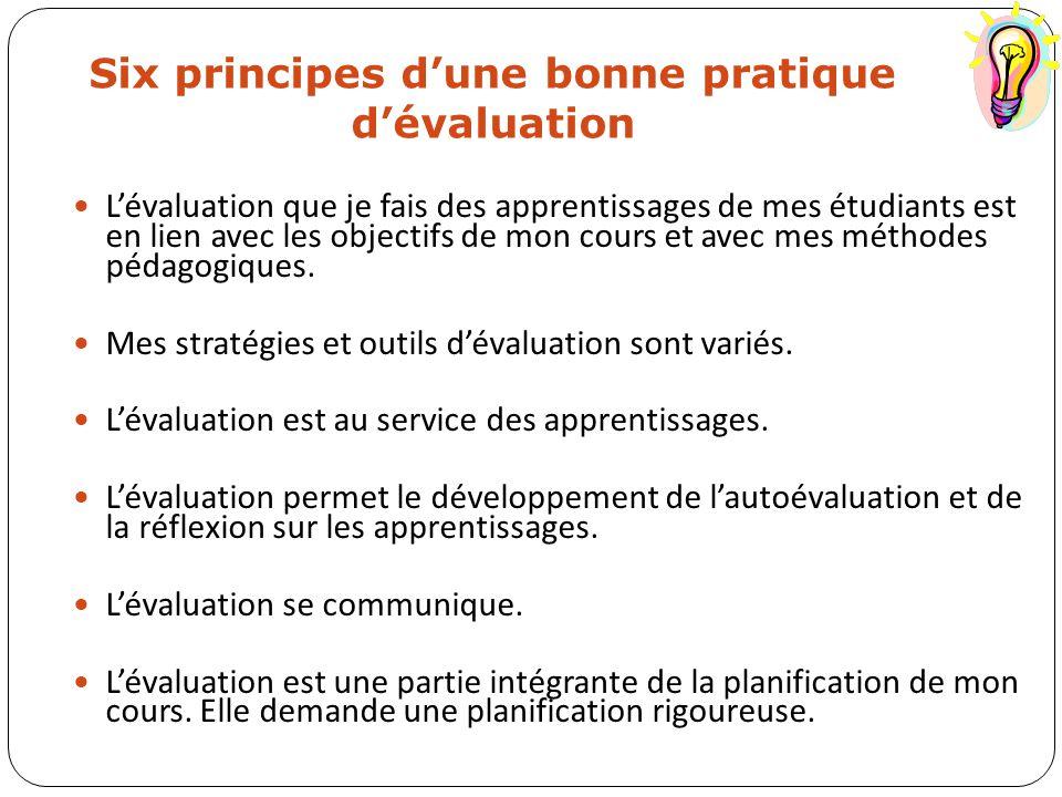 Six principes d'une bonne pratique d'évaluation