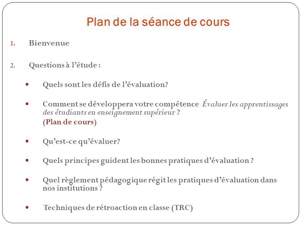 Plan de la séance de cours