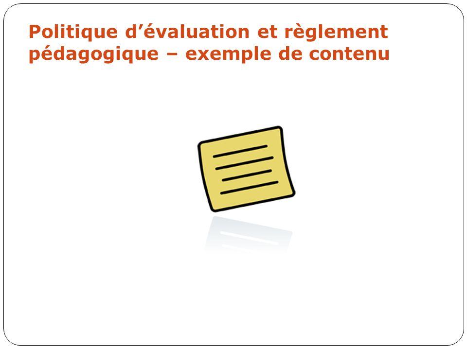 Politique d'évaluation et règlement pédagogique – exemple de contenu
