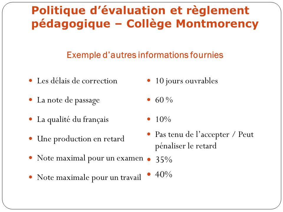 Politique d'évaluation et règlement pédagogique – Collège Montmorency