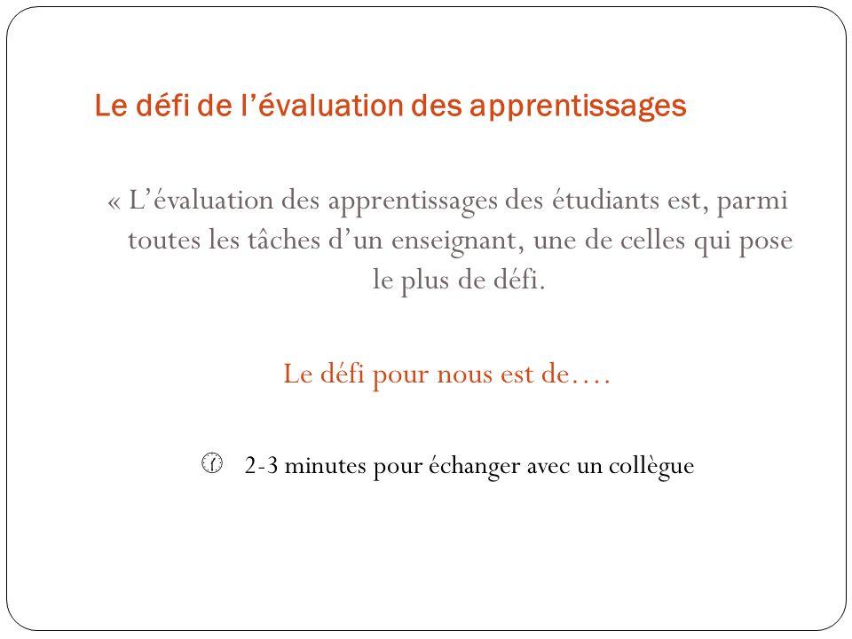 Le défi de l'évaluation des apprentissages