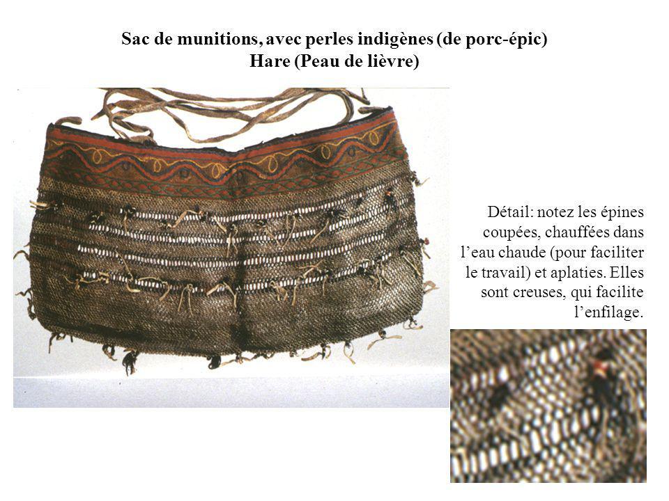 Sac de munitions, avec perles indigènes (de porc-épic) Hare (Peau de lièvre)