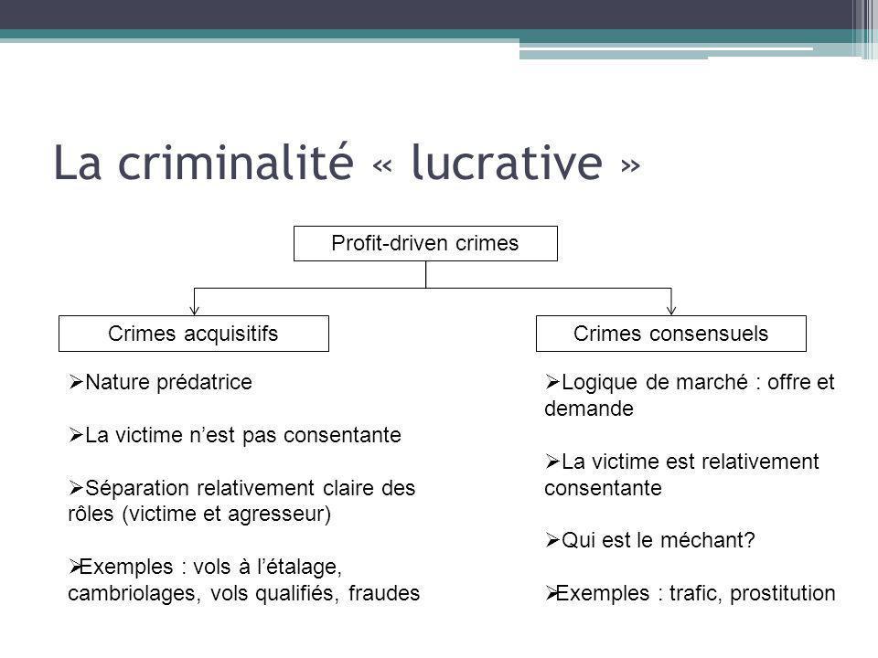 La criminalité « lucrative »