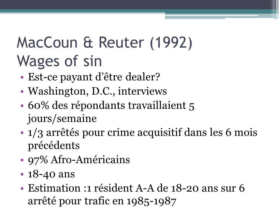 MacCoun & Reuter (1992) Wages of sin