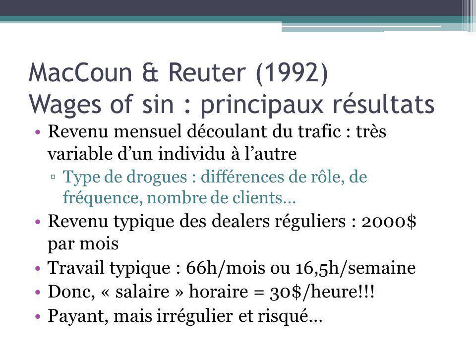MacCoun & Reuter (1992) Wages of sin : principaux résultats