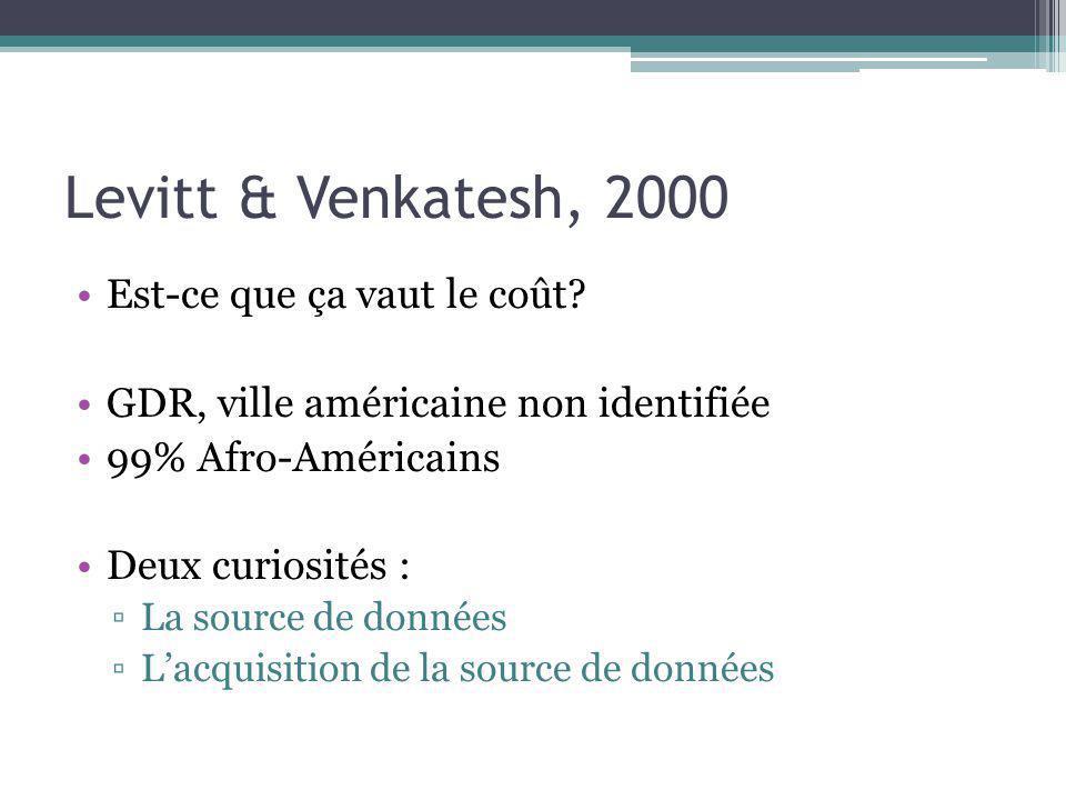Levitt & Venkatesh, 2000 Est-ce que ça vaut le coût
