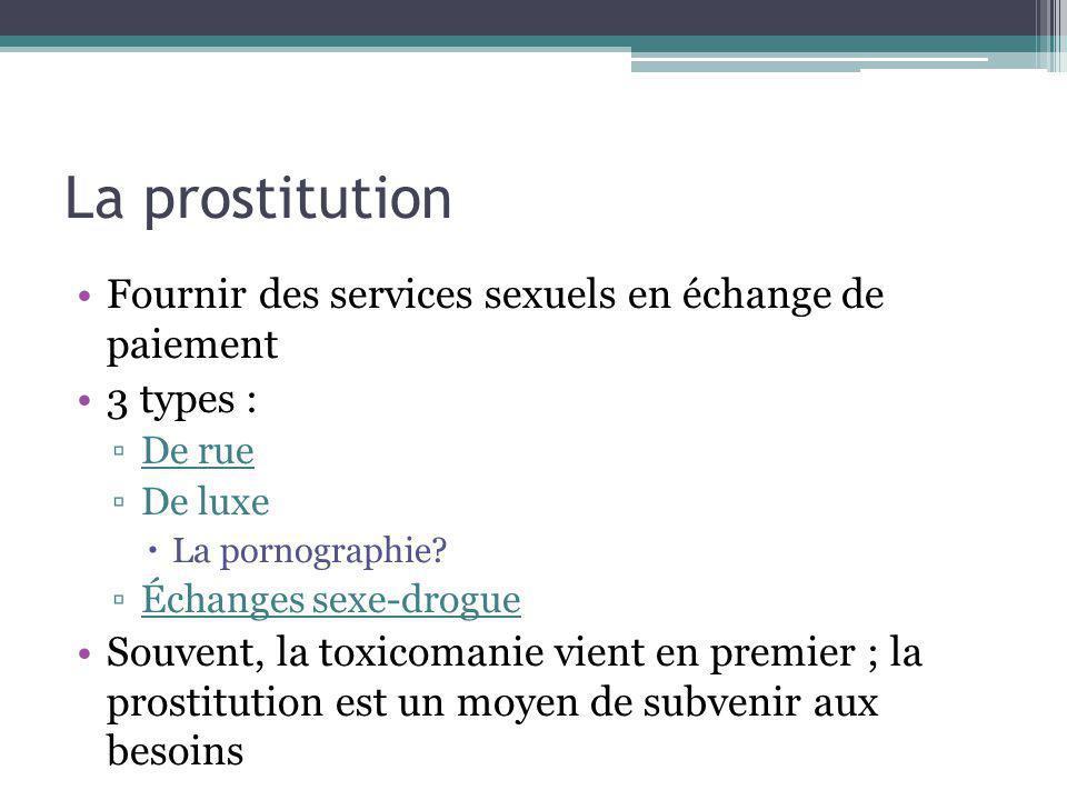 La prostitution Fournir des services sexuels en échange de paiement