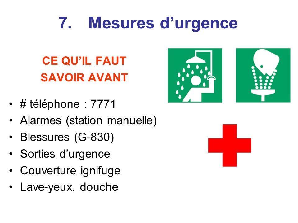 7. Mesures d'urgence CE QU'IL FAUT SAVOIR AVANT # téléphone : 7771