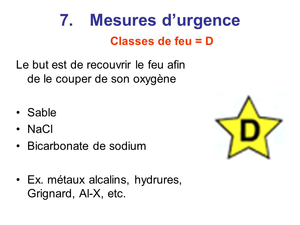 7. Mesures d'urgence Classes de feu = D