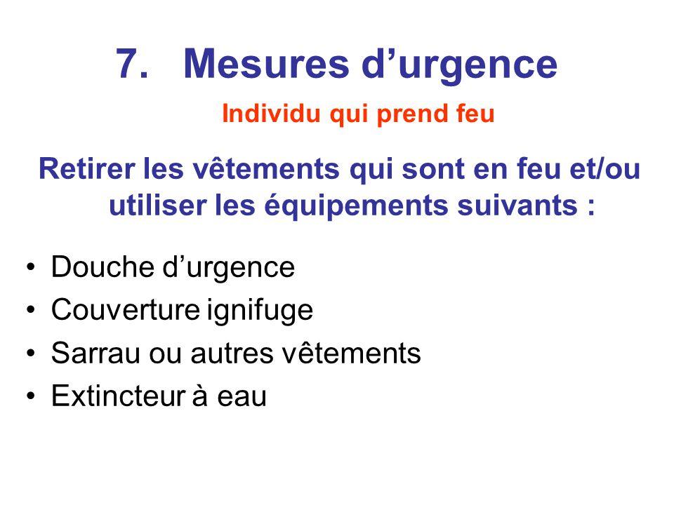 7. Mesures d'urgence Individu qui prend feu. Retirer les vêtements qui sont en feu et/ou utiliser les équipements suivants :