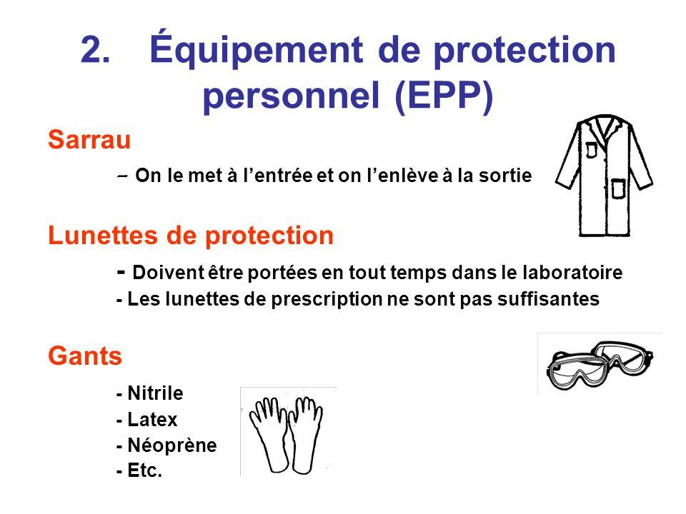 2. Équipement de protection personnel (EPP)