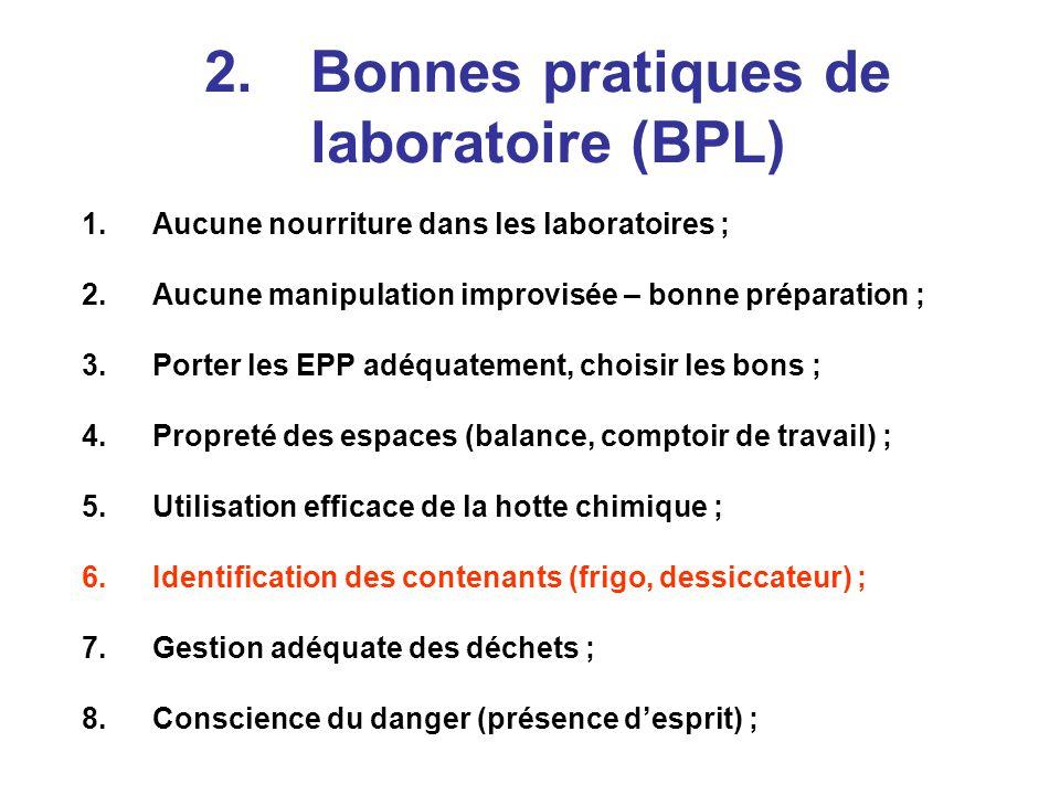 2. Bonnes pratiques de laboratoire (BPL)