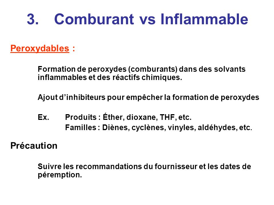 3. Comburant vs Inflammable