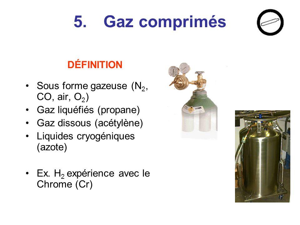 5. Gaz comprimés DÉFINITION Sous forme gazeuse (N2, CO, air, O2)