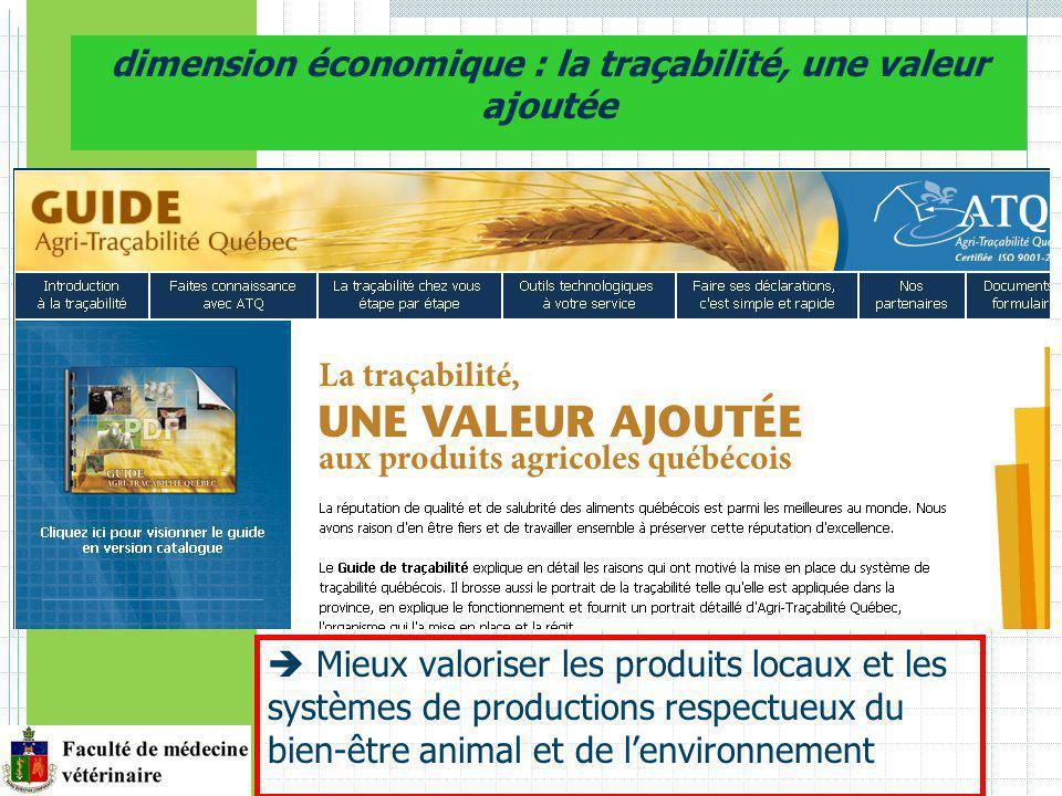 dimension économique : la traçabilité, une valeur ajoutée