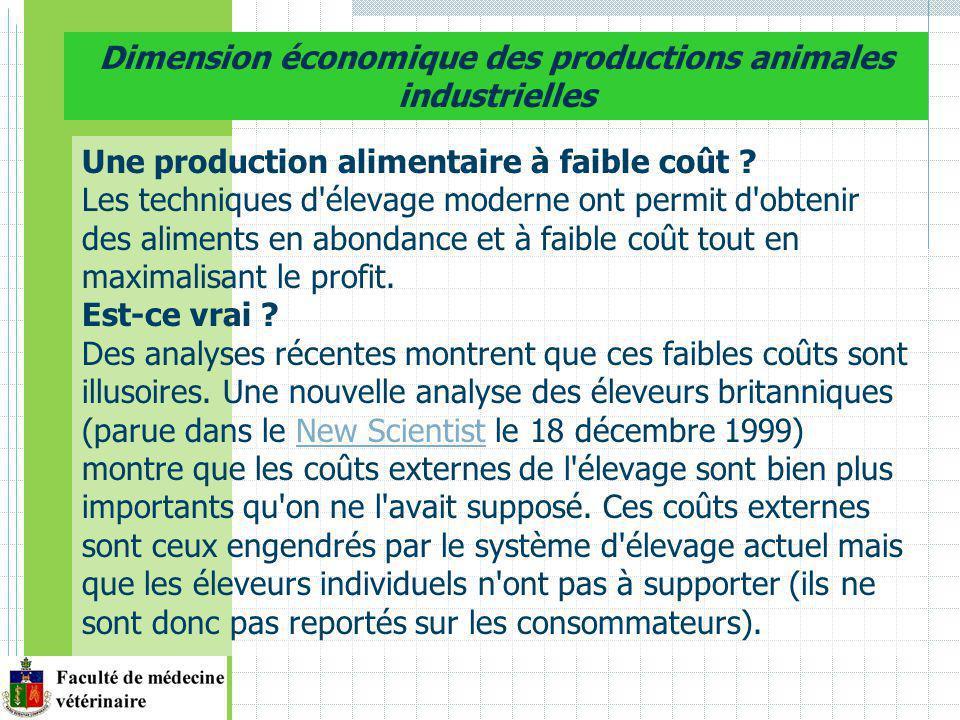 Dimension économique des productions animales industrielles