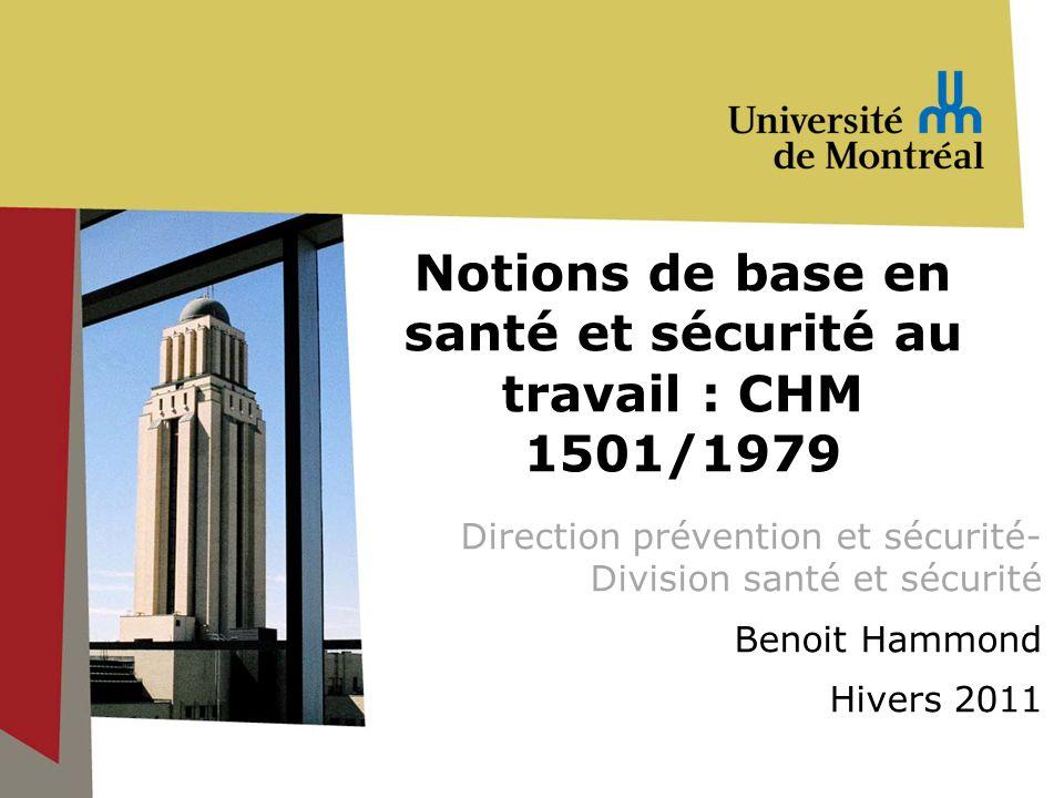 Notions de base en santé et sécurité au travail : CHM 1501/1979