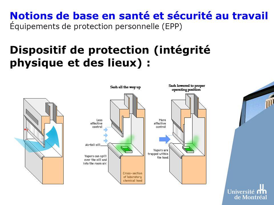 Dispositif de protection (intégrité physique et des lieux) :