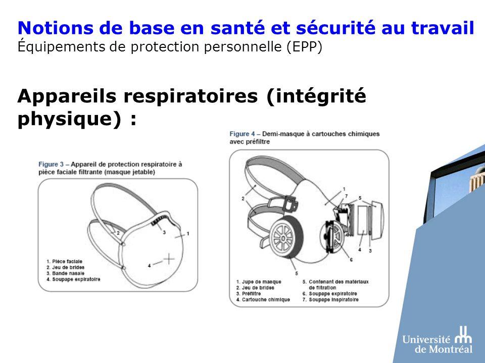 Appareils respiratoires (intégrité physique) :