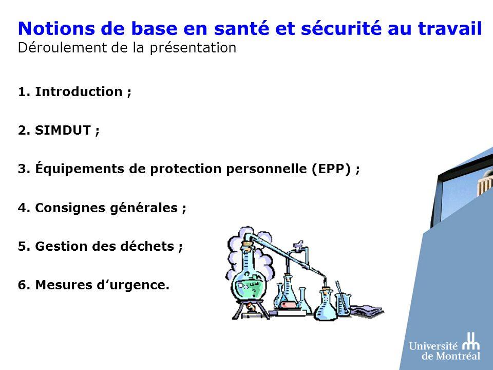 Notions de base en santé et sécurité au travail Déroulement de la présentation