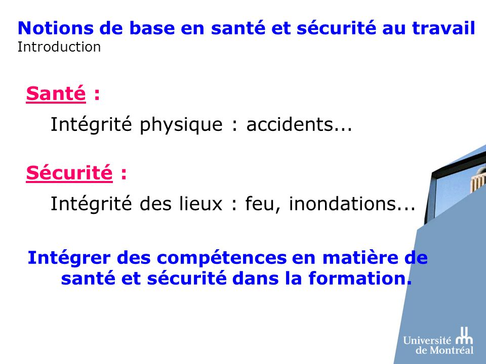Notions de base en santé et sécurité au travail Introduction