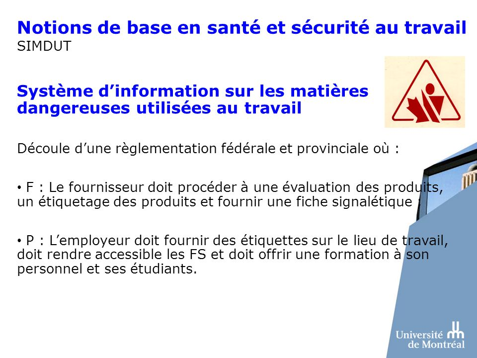 Notions de base en santé et sécurité au travail SIMDUT