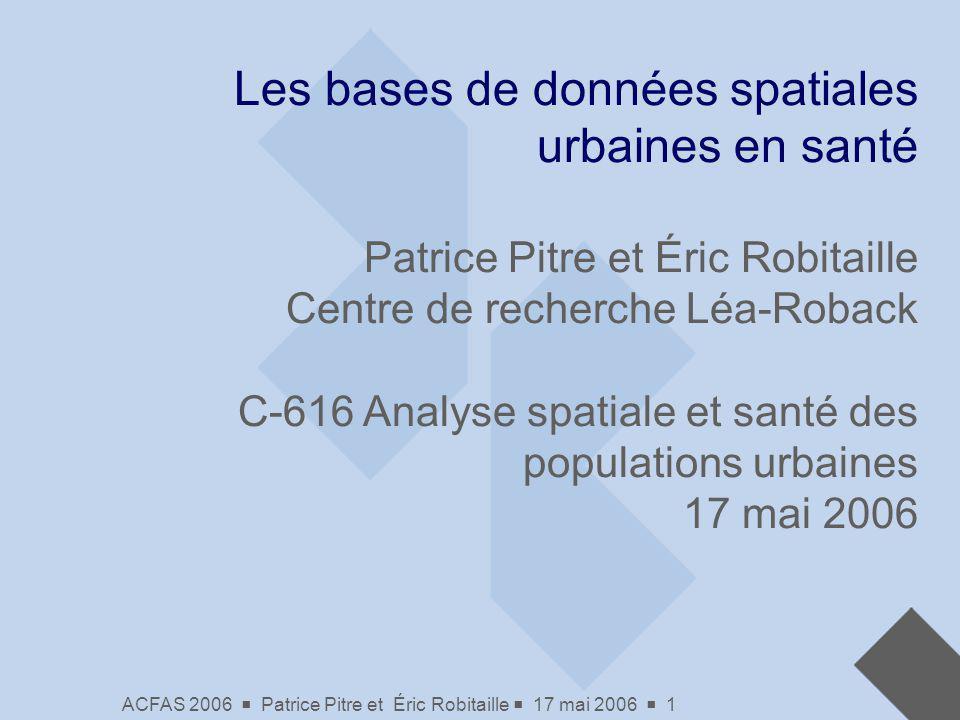 Les bases de données spatiales urbaines en santé