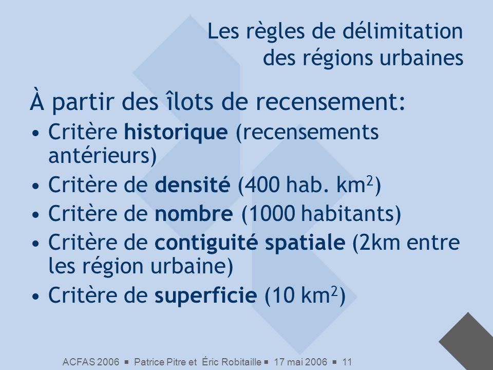 Les règles de délimitation des régions urbaines