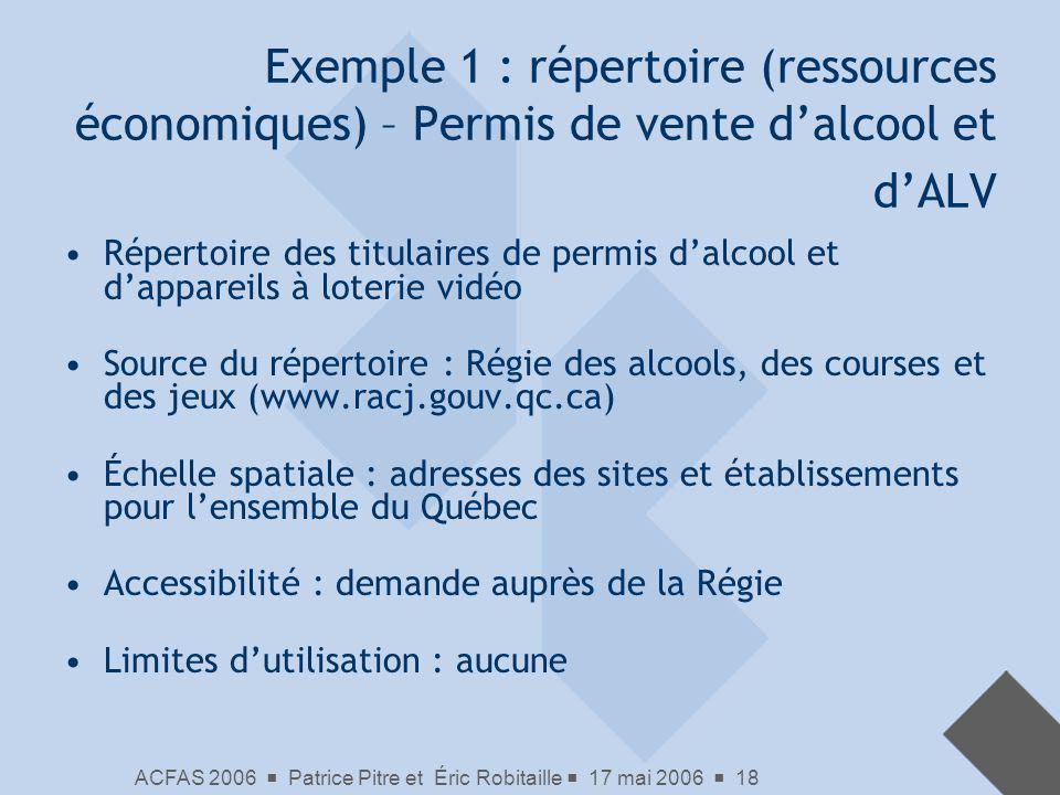Exemple 1 : répertoire (ressources économiques) – Permis de vente d'alcool et d'ALV