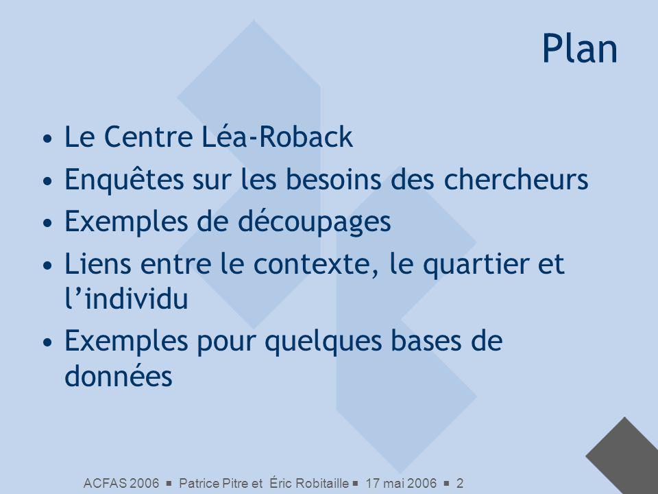 Plan Le Centre Léa-Roback Enquêtes sur les besoins des chercheurs
