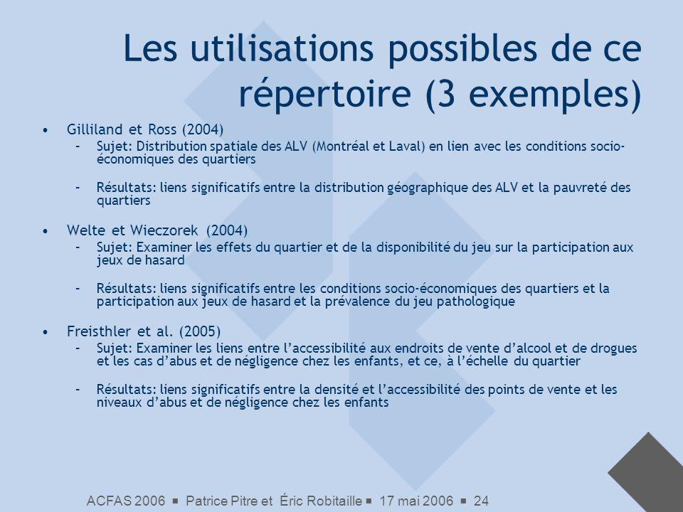 Les utilisations possibles de ce répertoire (3 exemples)