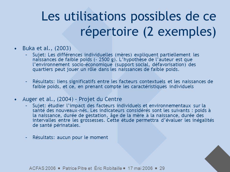 Les utilisations possibles de ce répertoire (2 exemples)