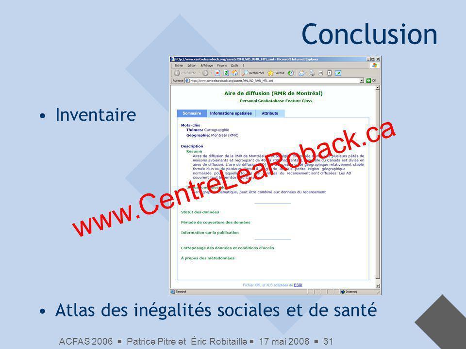 Conclusion www.CentreLeaRoback.ca Inventaire