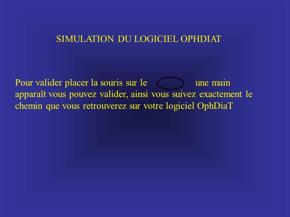 SIMULATION DU LOGICIEL OPHDIAT