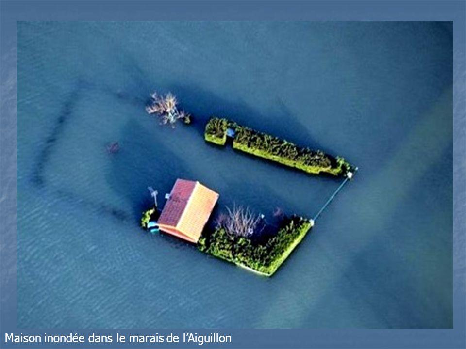 Maison inondée dans le marais de l'Aiguillon