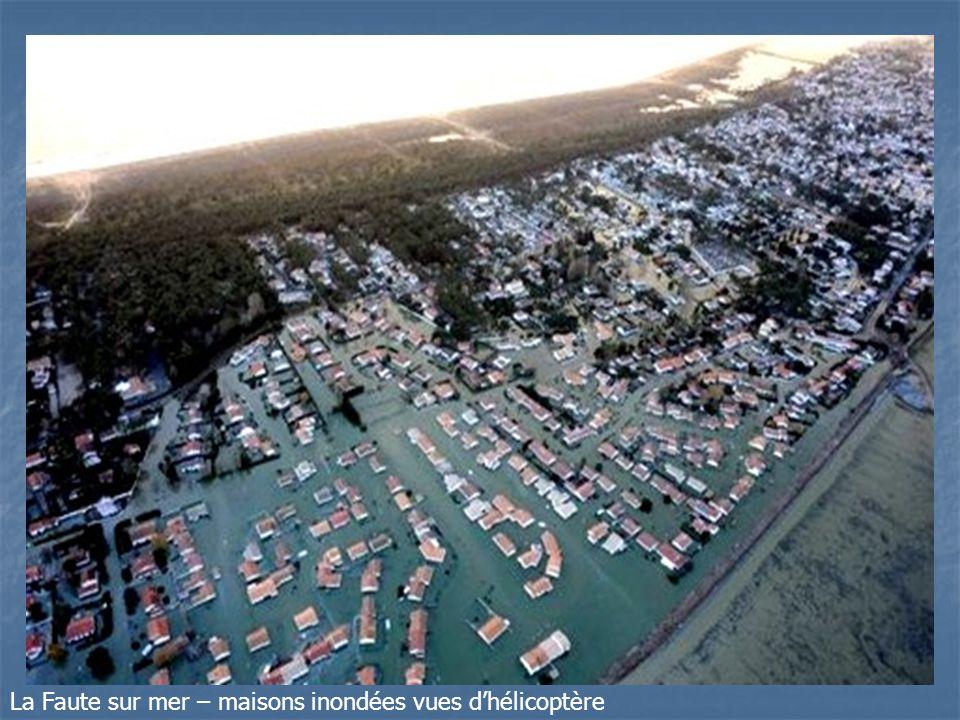 La Faute sur mer – maisons inondées vues d'hélicoptère