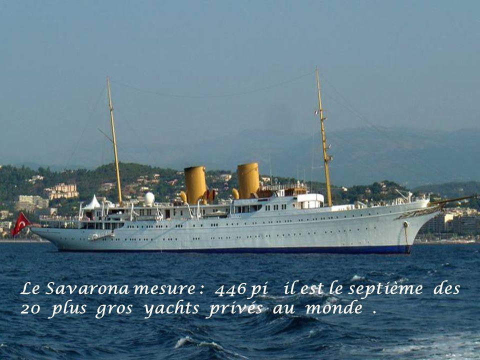 Le Savarona mesure : 446 pi il est le septième des 20 plus gros yachts privés au monde .