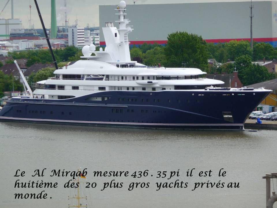 Le Al Mirqab mesure 436 . 35 pi il est le huitième des 20 plus gros yachts privés au monde .