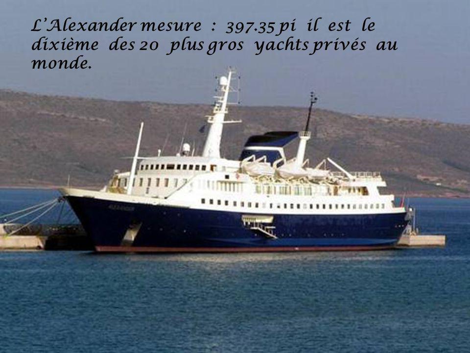 L'Alexander mesure : 397.35 pi il est le dixième des 20 plus gros yachts privés au monde.