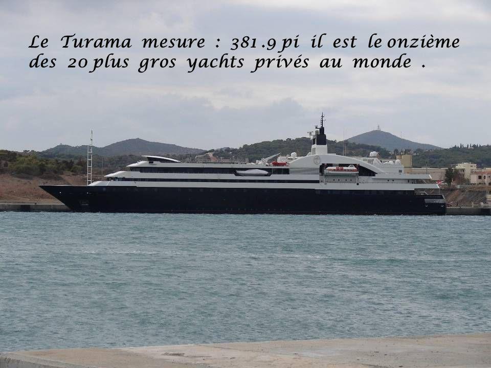 Le Turama mesure : 381 .9 pi il est le onzième des 20 plus gros yachts privés au monde .