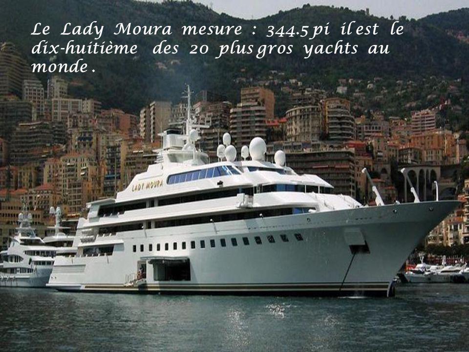 Le Lady Moura mesure : 344.5 pi il est le dix-huitième des 20 plus gros yachts au monde .