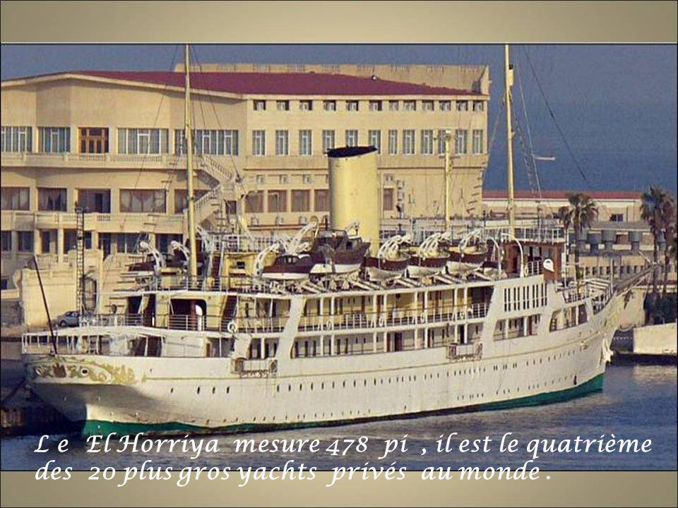L e El Horriya mesure 478 pi , il est le quatrième des 20 plus gros yachts privés au monde .