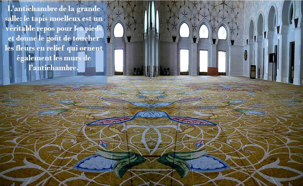 L'antichambre de la grande salle: le tapis moelleux est un véritable repos pour les pieds et donne le goût de toucher les fleurs en relief qui ornent également les murs de l'antichambre.