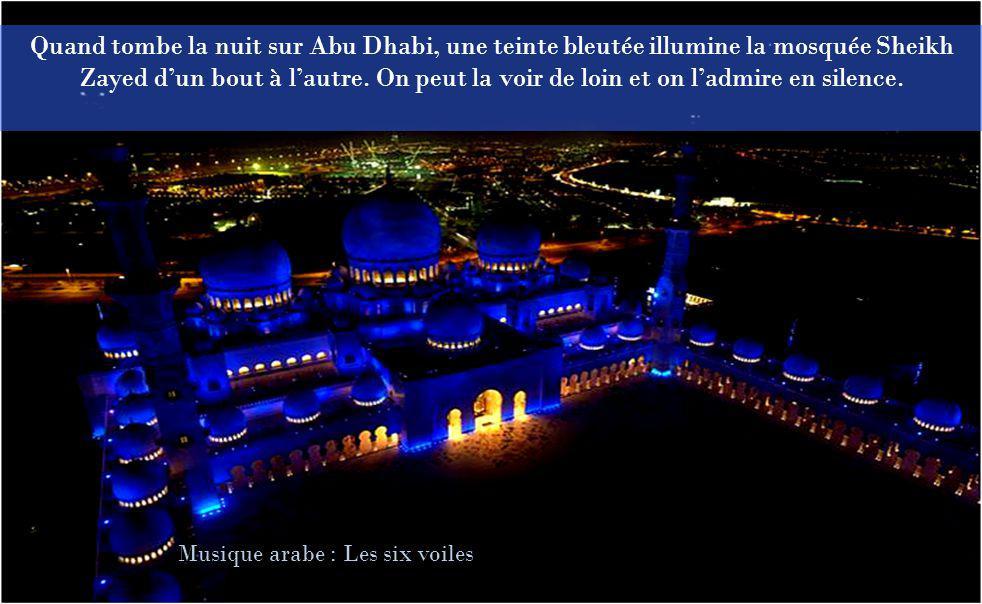 Quand tombe la nuit sur Abu Dhabi, une teinte bleutée illumine la mosquée Sheikh Zayed d'un bout à l'autre. On peut la voir de loin et on l'admire en silence.