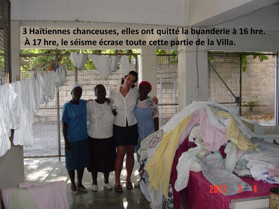 3 Haïtiennes chanceuses, elles ont quitté la buanderie à 16 hre.