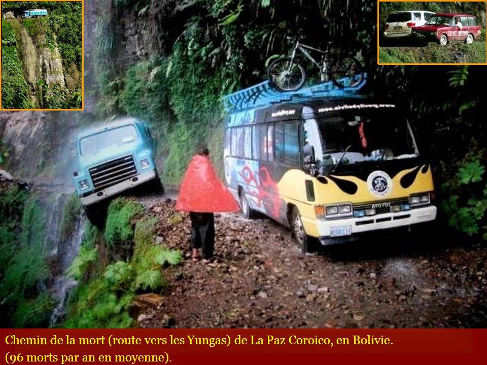 Chemin de la mort (route vers les Yungas) de La Paz Coroico, en Bolivie.
