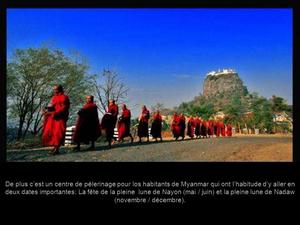 De plus c'est un centre de pélerinage pour los habitants de Myanmar qui ont l'habitude d'y aller en deux dates importantes: La fête de la pleine lune de Nayon (mai / juin) et la pleine lune de Nadaw (novembre / décembre).